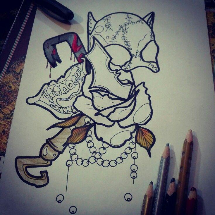#batman #robin #joker #riddler #inprogress #neotraditional #tattoo #drawing #rose #flower #mouth #