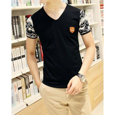 Korean Style V-Neck Crown Embellished Short Sleeves Cotton T-shirt For Men-11.14 and Free Shipping| GearBest.com