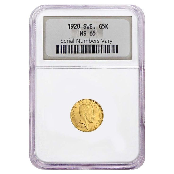 1920 Sweden Gold 5 Kronor King Gustaf Coin NGC MS 65