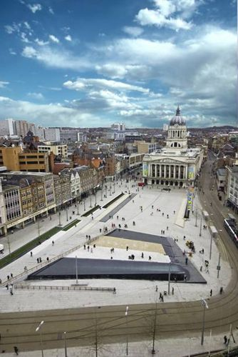 The city of Nottingham, England, known for its links to the legend of Robin Hood and famous for its lace-making industry