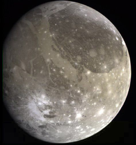 "Ganymede. It's bigger than Mercury, has a liquid iron core and is the only moon in the Solar System with its own magnetic field. The terrain is varied, but there are broadly two different types: heavily-cratered dark regions (evidence of great age) and brighter regions showing patterns of ridges and grooves for thousands of miles, suggesting later geological activity, but nonetheless ancient. ©Mona Evans,""Jupiter's Galilean Moons"" http://www.bellaonline.com/articles/art42279.aspSolar System, Colors View, Ganymede, Moon Ganym, Final Frontier, Jupiter Moon, Largest Moon, Dark Area, Nature Colors"