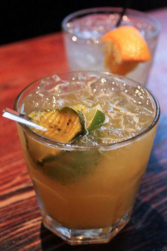 pickled surfer - a cocktail based on the Pickleback shot (shot of whiskey, shot of pickle brine/juice)
