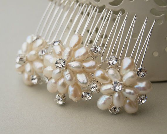 Emily Pearl Bridal Hair Comb Floral Handmade By