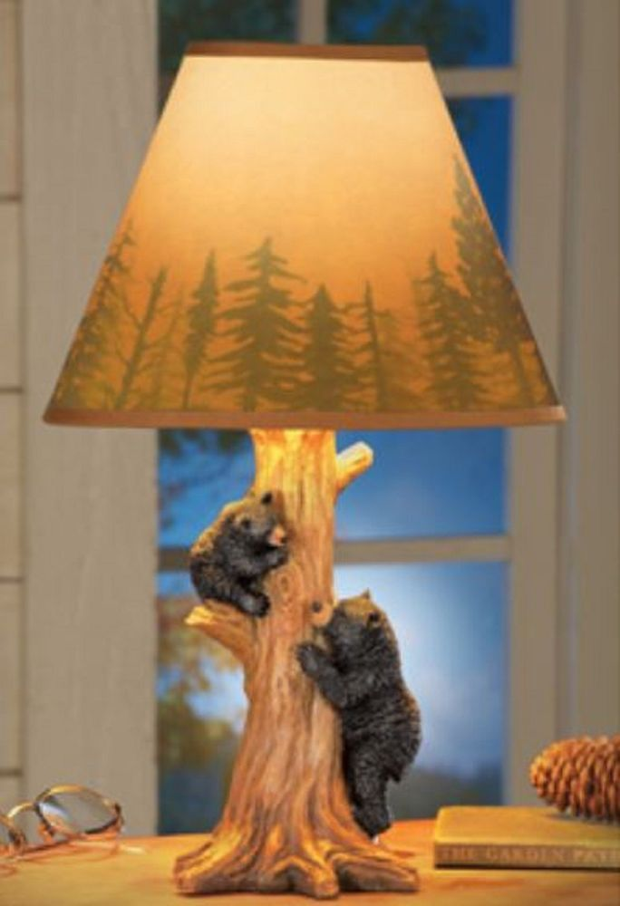 Rustic Lodge Cabin Woods Design Tan Lamp Shade Has A Dark Brown Border At The Top And Bottom And Showcases A Fores Black Bear Decor Bear Decor Log Cabin Decor