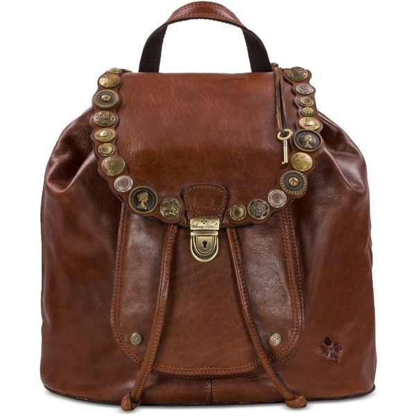 Patricia Nash Studded Hardware Casape Medium Backpack ($299) ❤ liked on Polyvore featuring bags, backpacks, tobacco, brown leather bag, leather bags, brown backpack, leather backpacks and flap backpacks