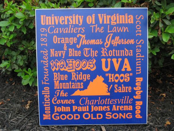 Virginia UVA The University of Virginia  sign by lawler01 on Etsy, $35.00