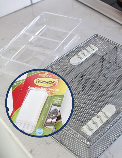 Use Command Strips on the bottom of drawer organizers to prevent them from sliding around