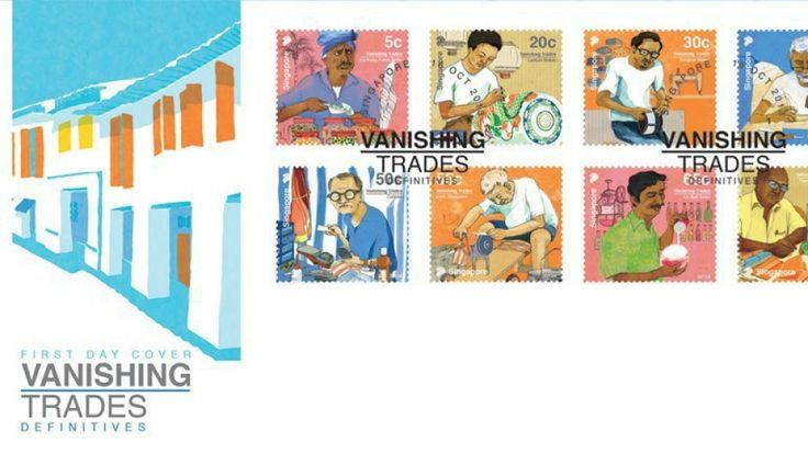 消えていく職業シリーズの切手 シンガポール Special stamps to preserve memory of Singapore's vanishing trades  豆売り、プラナカン刺繍職人、刃物研ぎ、金細工職人、靴修理、オウム占い、かき氷屋、牛乳売り。