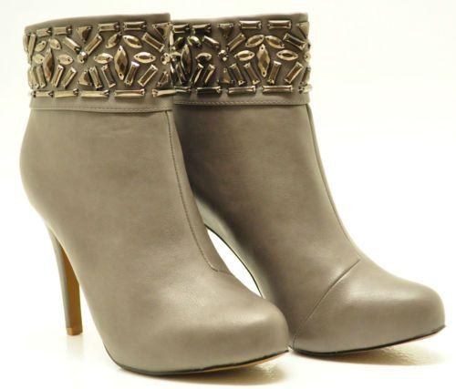 Details Zu Luxus Designer Stiefeletten In Leder Optik Grau Mit Nieten Gr.  36 41