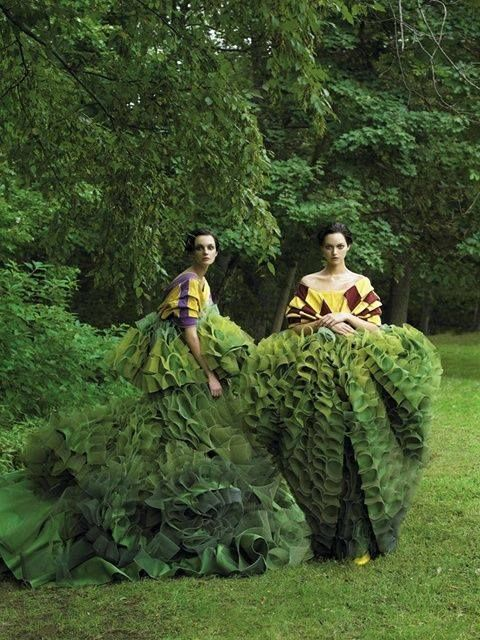 """Garden of Delights"" Vogue US Decembre Issue (2006) Photo by Steven Meisel Models: Caroline Trentini and Gemma Ward"