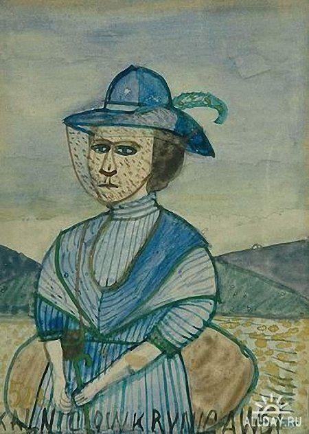 Krynicki Nikifor (Poland, 1895 - 1968) «Kobieta w kapeluszu»