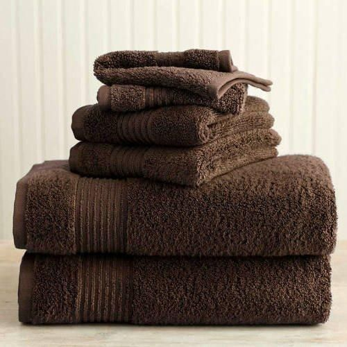 Chocolate Brown Solid Color Towel Set 30 X 54 Bath Towels Brown Stripe Border Extra Absorbent Soft Cozy Fade Resistant Gorgeous Elegant Modern Stylish Towels Cotton