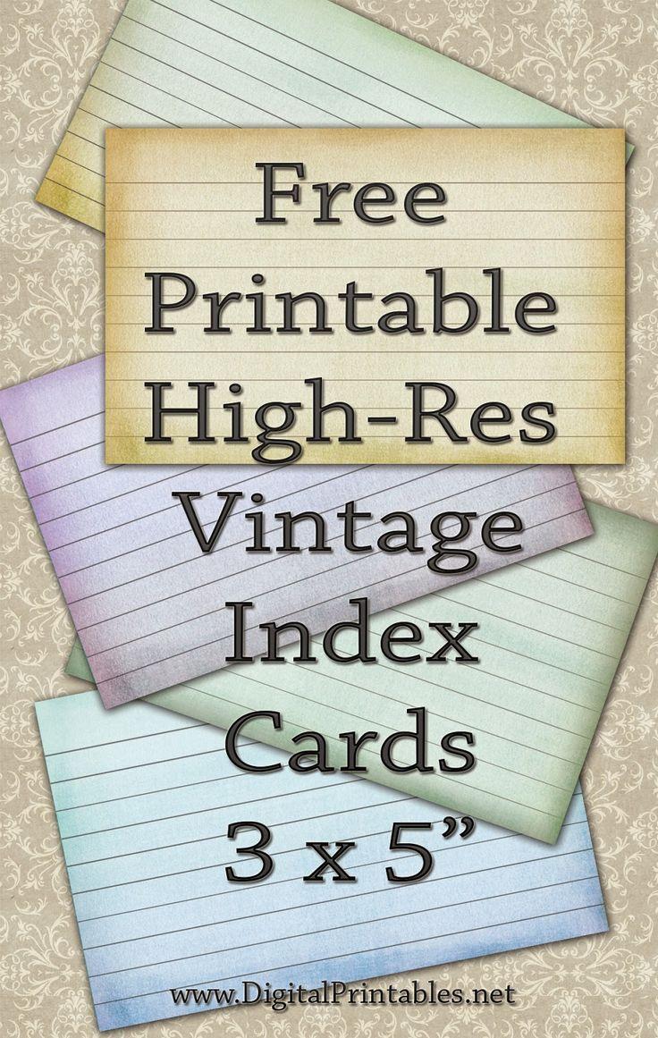 Digital Printables Free Printable Index Cards Vintage Look High Res Card Templates Printable Templates Printable Free Recipe Cards Template