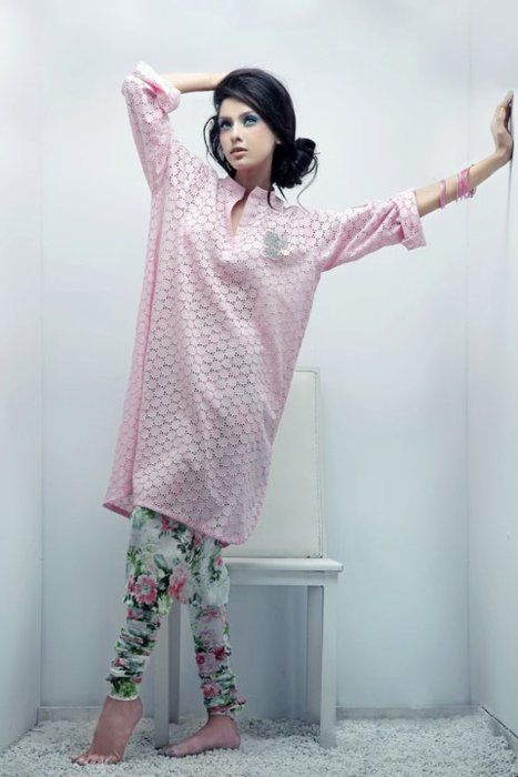 Oversized Pink Kurta with Printed Tights