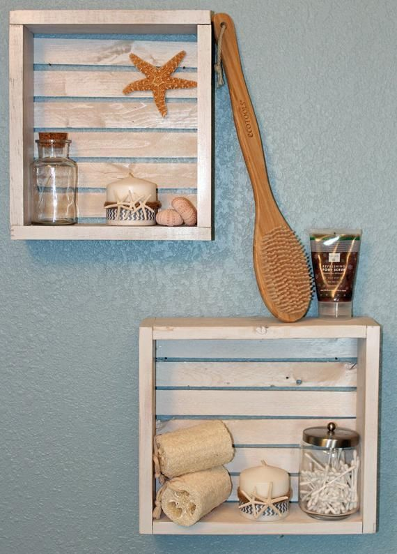 Price Listed Is For One Shelf We Get A Beach Vibe From These Handmade Rustic Beach Crate Shelves The Nautical Bathroom Decor Nautical Shelves Bathroom Themes