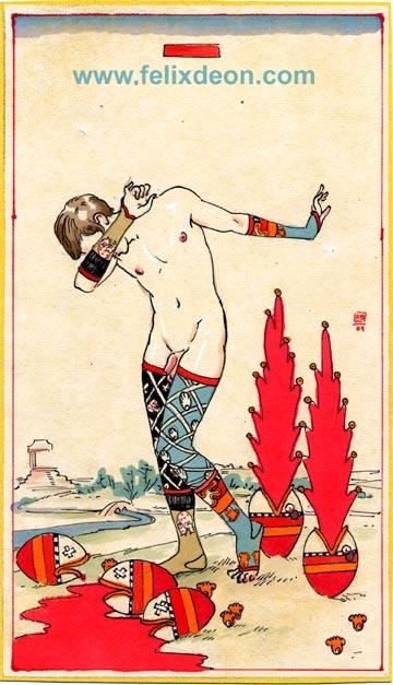 Tarot Card Four of Hearts by Felix d'Eon