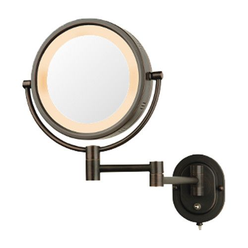 Jerdon Lighted 5X Magnifying Wall Mirror BRONZE Finish