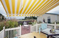 Resultado de imagen de white and yellow strip awning