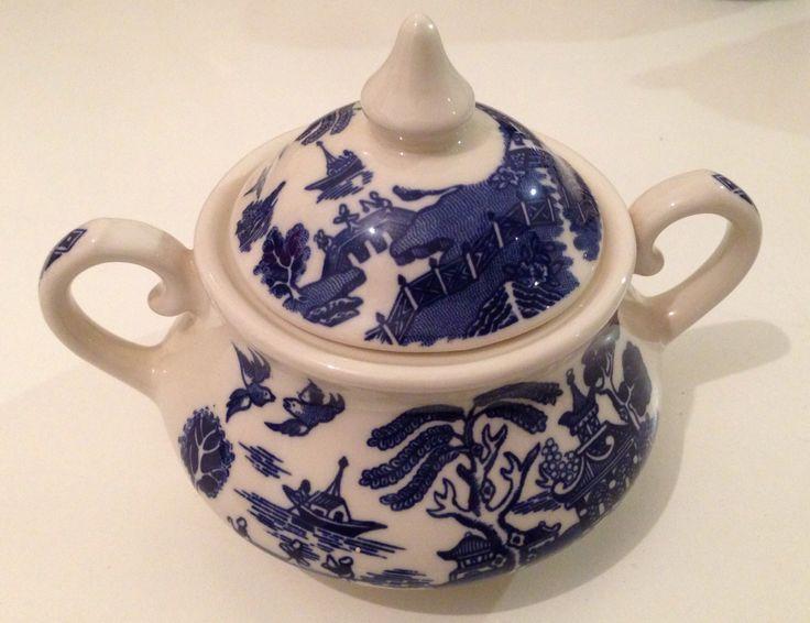 Ironstone blue willow sugar bowl