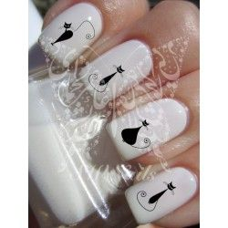 Nail Art Black Cats water Decals Nail Transfers Nail wraps
