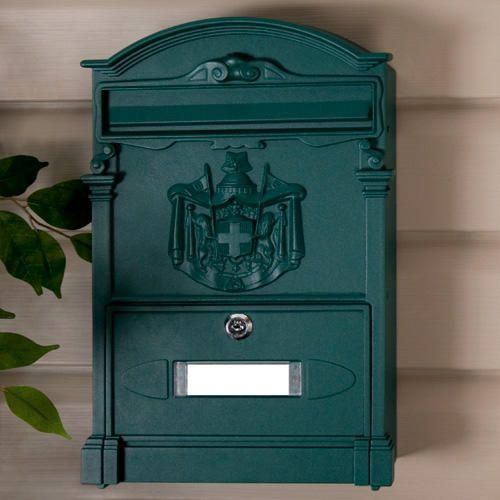 Residencia Aluminum Locking Wall-Mount Mailbox - Green Powder Coat