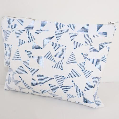 POUCH by Tikau (Large, blue/white triangle)