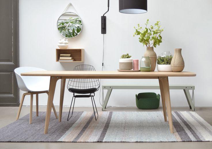 Maatwerk Tafel type Fjord - retro scandinavische tafel van massief eiken - houtmerk.nl