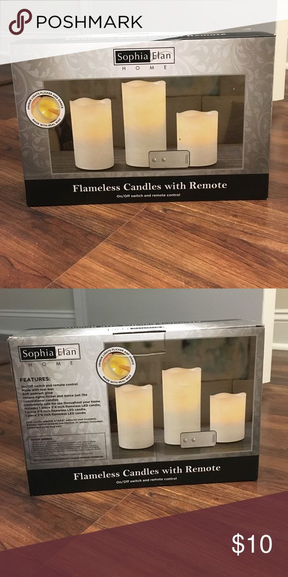 BRAND NEW flameless candles with remote Brand new, never opened or used. Flickering, flameless candles, made with real wax, remote controlled and on/off switch. sophia elan home Other