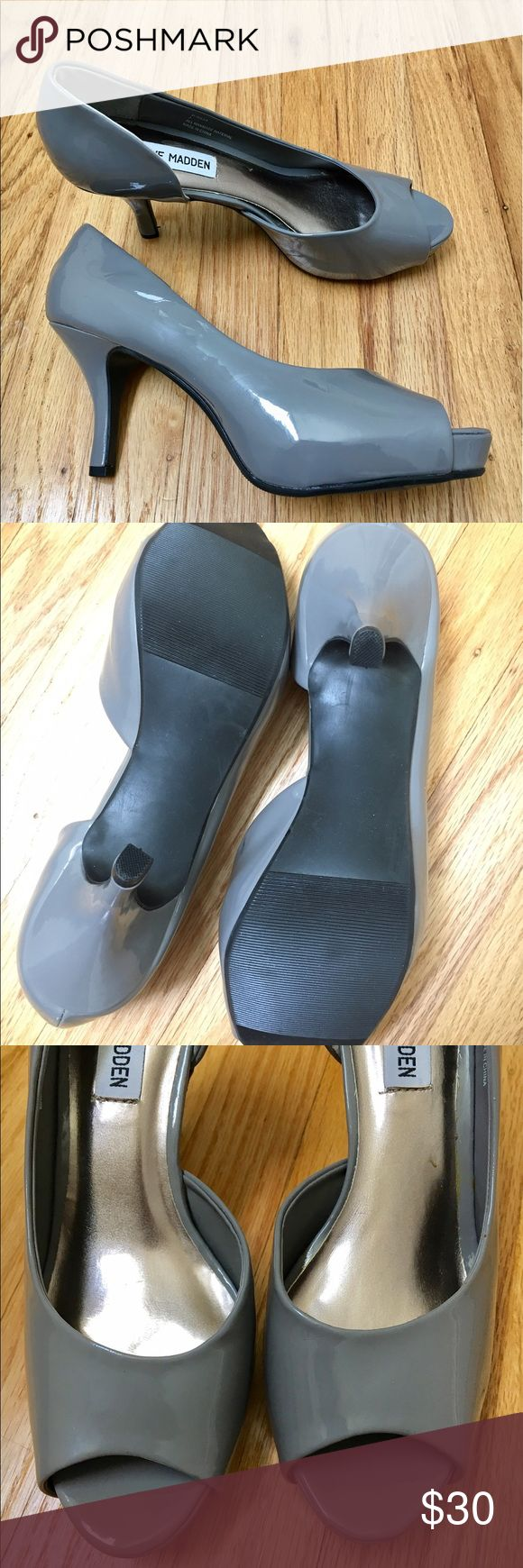 Gray Peeptoes Steve Madden New NWOT. Steve Madden size 7. Sticker residue inside and scuff mark outside see pics. Only tried on around Store but I've held onto these for sooo long that some glue has come off so the shiny fabric has loosen in some areas. Smoke and Pet Free Home. Offers welcomed! Steve Madden Shoes