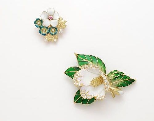 Nature inspired enameled jewelry by Kunio Nakajima