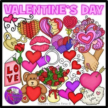 Valentine's Clip Art for teens: crayon effect