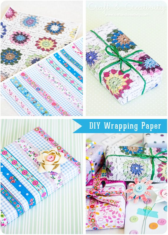 Um, yes! DIY wrapping paper made by photocopying fabric, granny squares, and any other flat things you've got lying around. More detailed tutorial here: http://mypoppet.blogspot.com.au/2012/05/how-to-diy-wrapping-paper.html