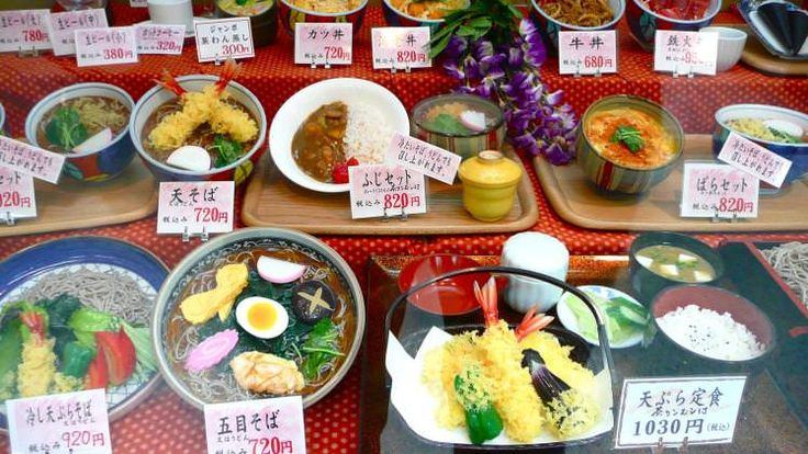 Display of plastic food at a restaurant in Japan
