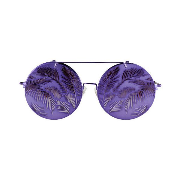 Matthew Williamson Flip-Up Sunglasses ($330) ❤ liked on Polyvore featuring accessories, eyewear, sunglasses, purple, uv protection sunglasses, uv protection glasses, round frame glasses, flip sunglasses and flip up glasses