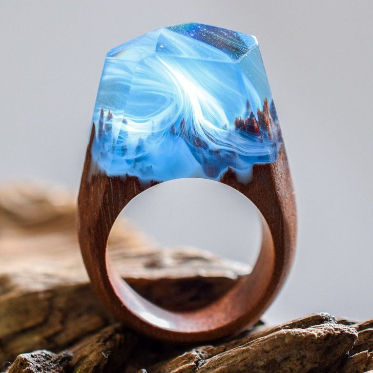 Miniature Worlds Encased Into Wooden Rings