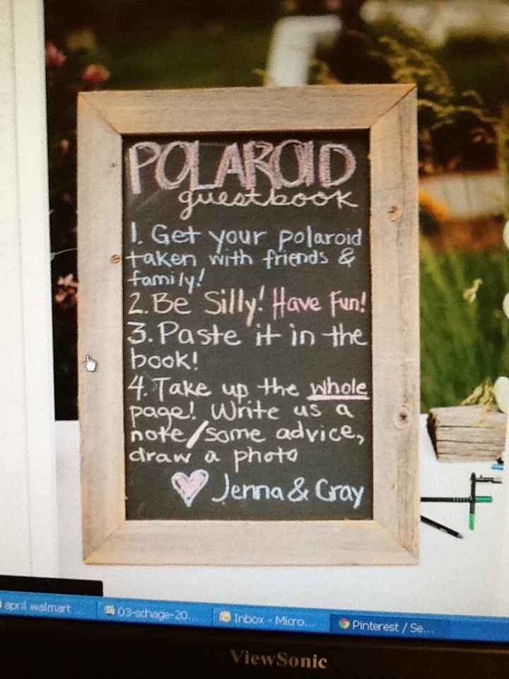 Polaroid guest book instructions. See my work at http ...