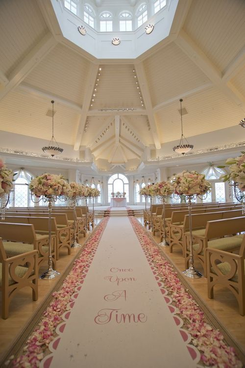 The aisle at the wedding pavilion at Disneyworld. The 'Once upon a time' aisle is beyond cute