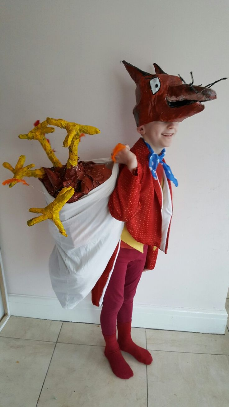 Fantastic Mr Fox, Roald Dahl/Quentin Blake. Homemade costume for World Book Day. Papier Mache head/chicken legs, coat made out of charity. shop curtains.