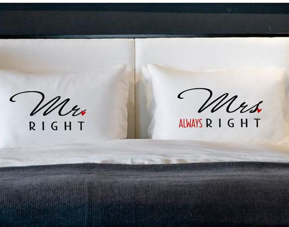 Mr Right Mrs Always Right Pillow Cases for Pillows Weddings Engagement Couples Gifts Cotton Anniversary on Etsy, 18,97 €