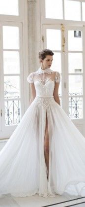 RIKI DALAL bridal 2016 short puff sleeves sweetheart illusion collar shirt bodice a line wedding dress