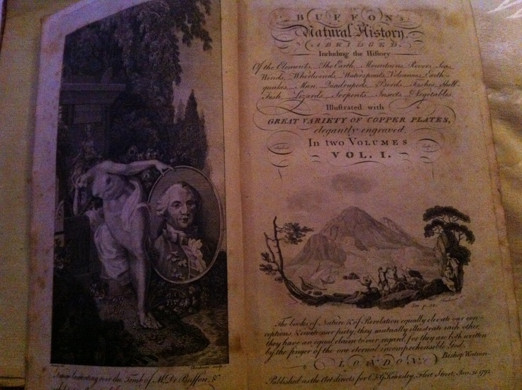 """Buffon's Natural History from 1792. Personal copy presented to a """"Mrs Montague"""", read about her role in the """"Blue Stocking Movement"""" at http://en.wikipedia.org/wiki/Elizabeth_Montagu"""