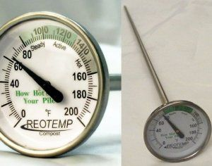 Compost Thermometer by Reotemp Instrument Corp. $24.00. 1 Year Limited Warranty. 20-inch All Stainless Steel Stem!. Hermetically sealed (won't fog up). Can be left in the compost pile over night.. Dial: 0/200 Fahrenheit with 3 Temperature Zones - Steady, Active and Hot. Basic Composting Instructions! (printed on the back of the packaging). Compost Thermometer Hot Composting Accuracy Heat plays an important role in the composting process and for that reason a compost thermome...