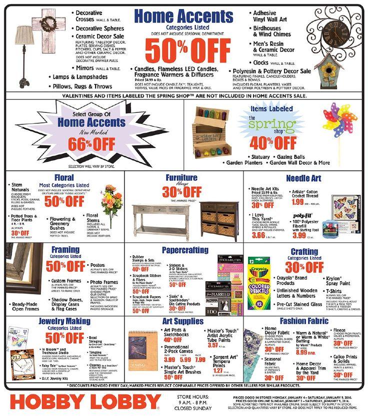 Hobby Lobby Weekly Ad January 3 - 9, 2016 - http://www.olcatalog.com/grocery/hobby-lobby-weekly-ad.html