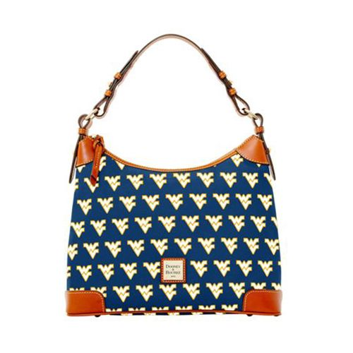 Dooney & Bourke West Virginia Hobo is coated canvas and trimmed with bridle leather, and has a zipper closure. Fully lined interior feature one zip pocket, two pockets, cellphone pocket, and a key hook. Strap has a drop length of 7.5 inches. Dimensions: 12.5H x 10.75W x 5.5D.