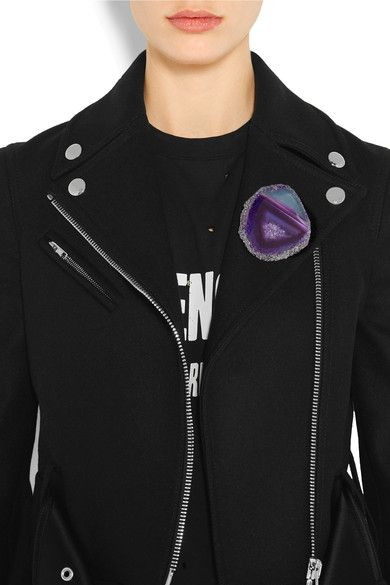 Givenchy - Stone Brooch - Dark purple - one size