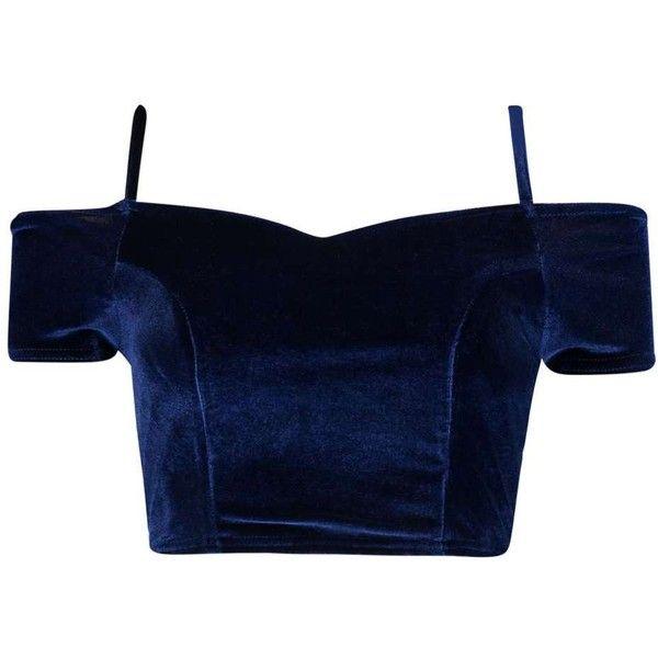 Boohoo Hettie Off The Shoulder Velvet Crop (€18) ❤ liked on Polyvore featuring tops, off shoulder tops, blue top, sheer shirts, off the shoulder crop top and evening tops