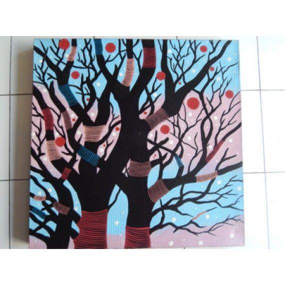 Lukisan Teknik Dot Motif Pohon Berwarna  Panjang : 70 cm  Lebar : 70 cm  Bahan : Kanfas, Cat Vynilex  Lukisan ini menggunakan Teknik Melukis Dot (Dot Painting).  Lukisan titik (dot painting) ini menggambarkan sebuah cerita. Pelukis dot menciptakan gambar dengan menerapkan titik-titik berbagai warna, dengan menggunakan alat-alat primitif seperti tongkat, duri moncong dan paku yang di lakukan pada suku Aborigin. Tapi sekarang sebagian seniman memadukan seni Lukisan titik (dot painting) dengan…