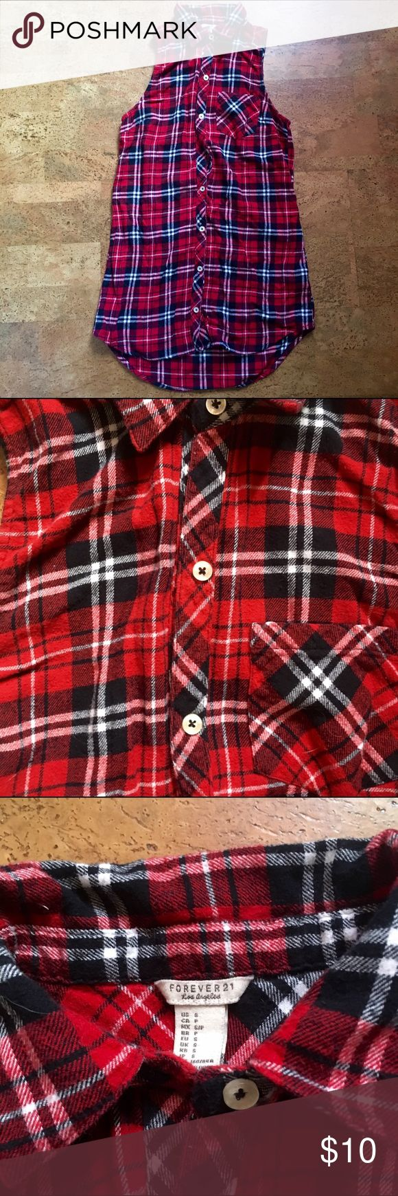 No shoulder long flannel shirt Can be worn as a dress or shirt depending on height. Super comfortable and an easy outfit. Size small. Condition is nearly perfect. Forever 21 Tops Button Down Shirts