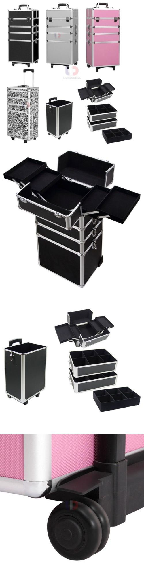 Makeup Bags and Cases: 4In 1 Rolling Aluminum Makeup Case Cosmetic Train Box Wheeled Storage Lockable BUY IT NOW ONLY: $69.34