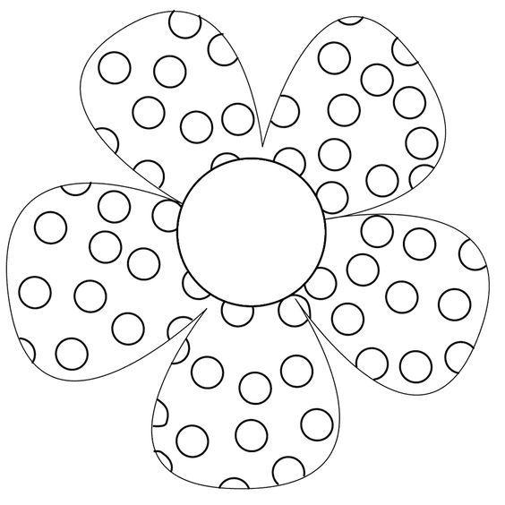 bloem met stippen patroon schilderij kleurplaten en